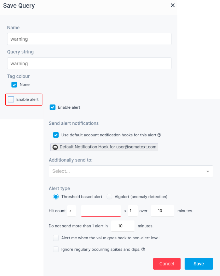 Sematext Cloud Logging App Alerts