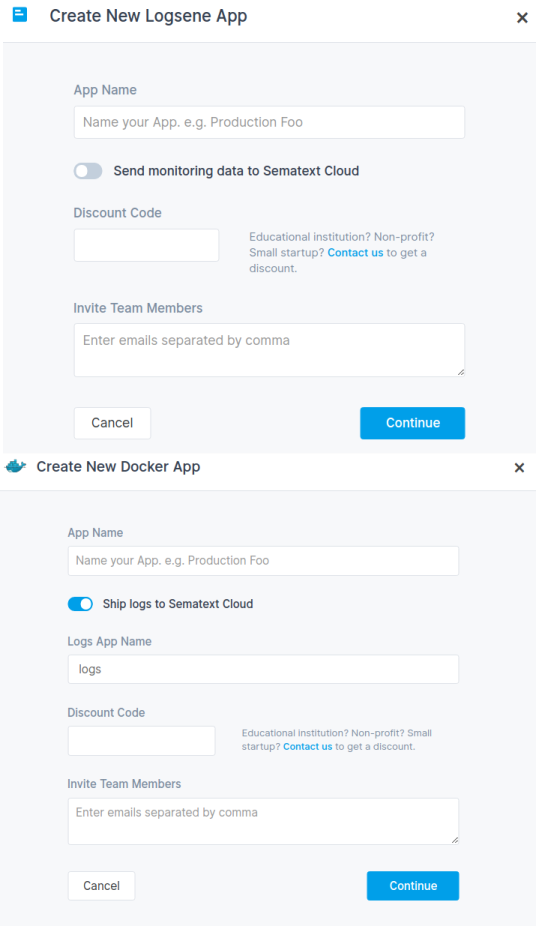 Sematext Cloud - Create New Intergration App
