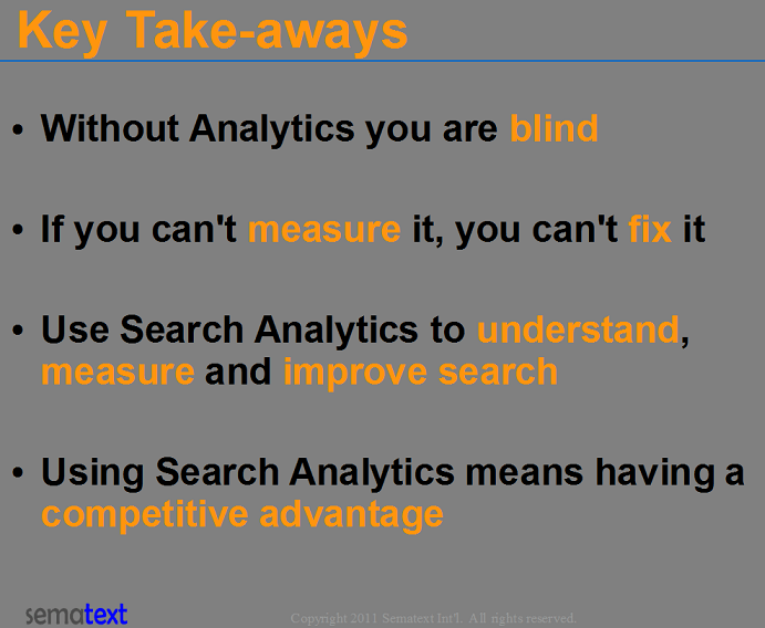 Search Analytics Key Takeways