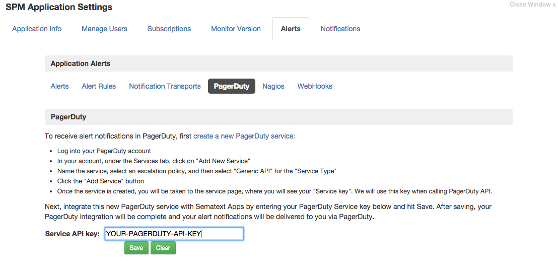 SPM - Service API Key for PagerDuty