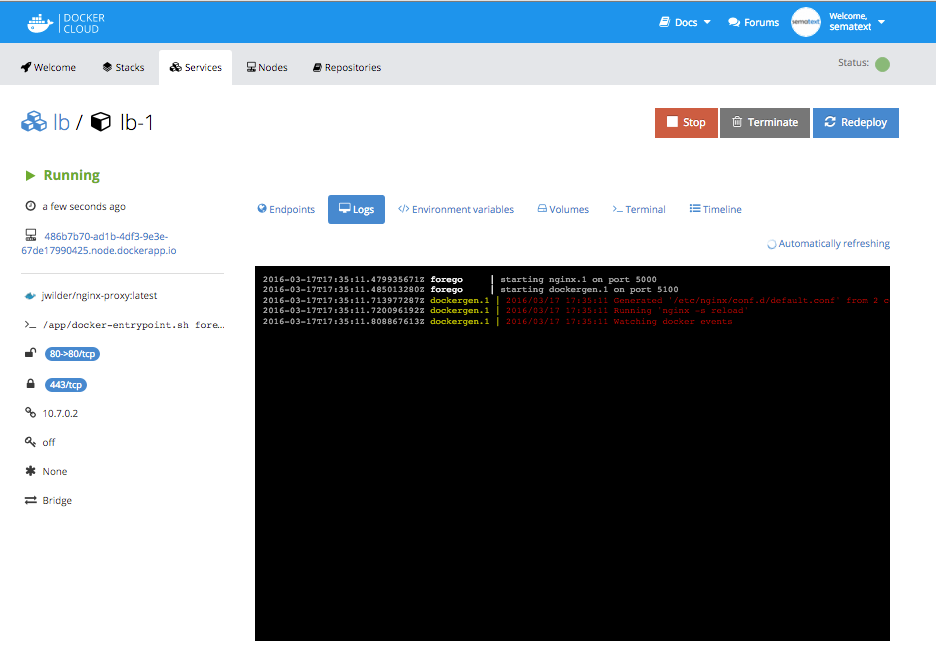 Real-time log view in Docker Cloud