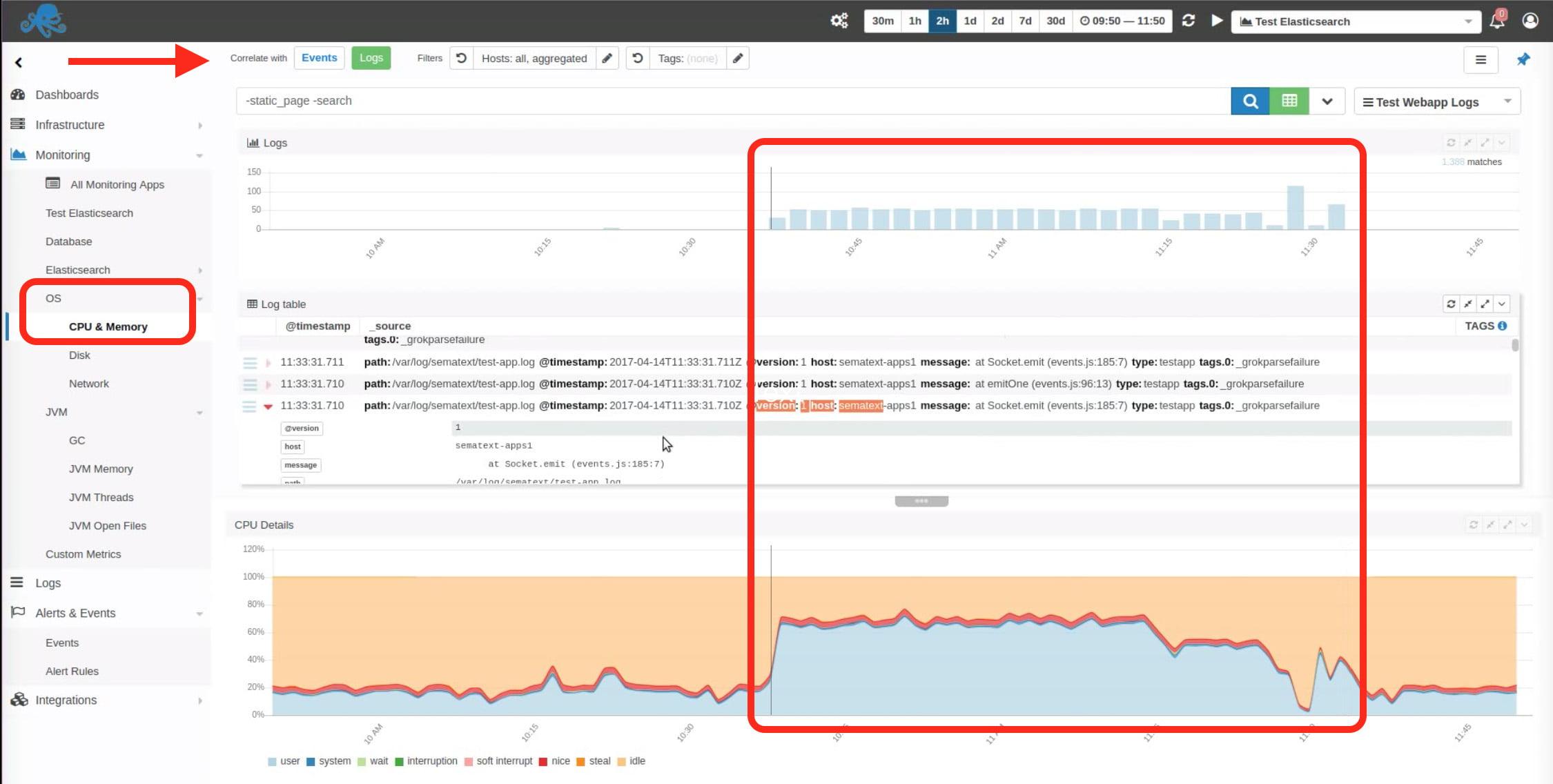 Sematext Logs and metrics