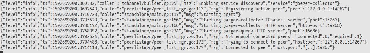 jaeger startup log opentracing