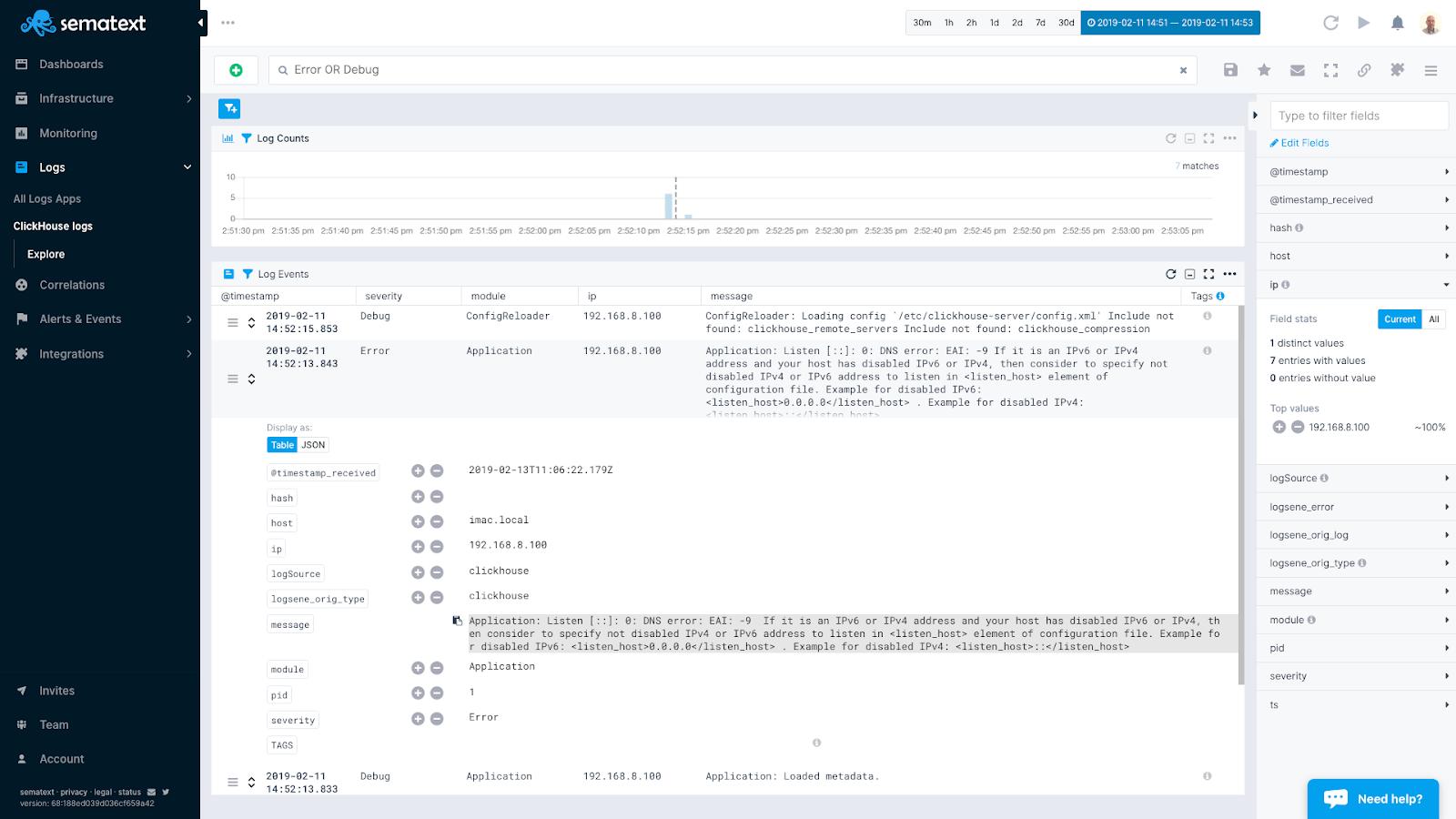 clickhouse logs search