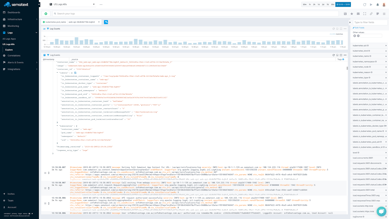 JSON view of a container log entry