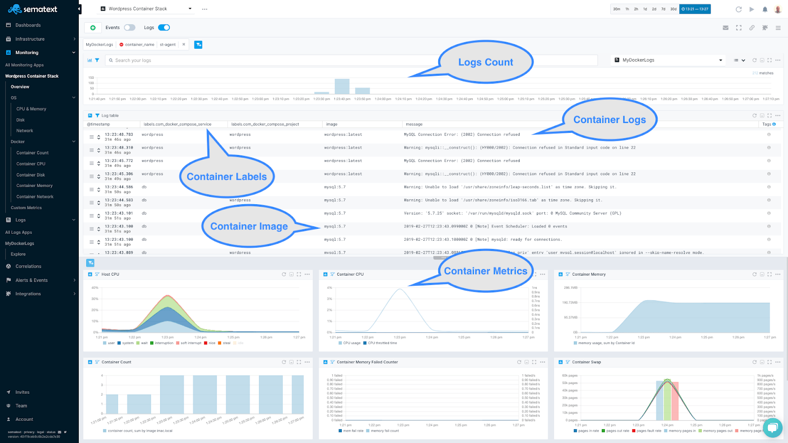 Container logs and metrics in a single view