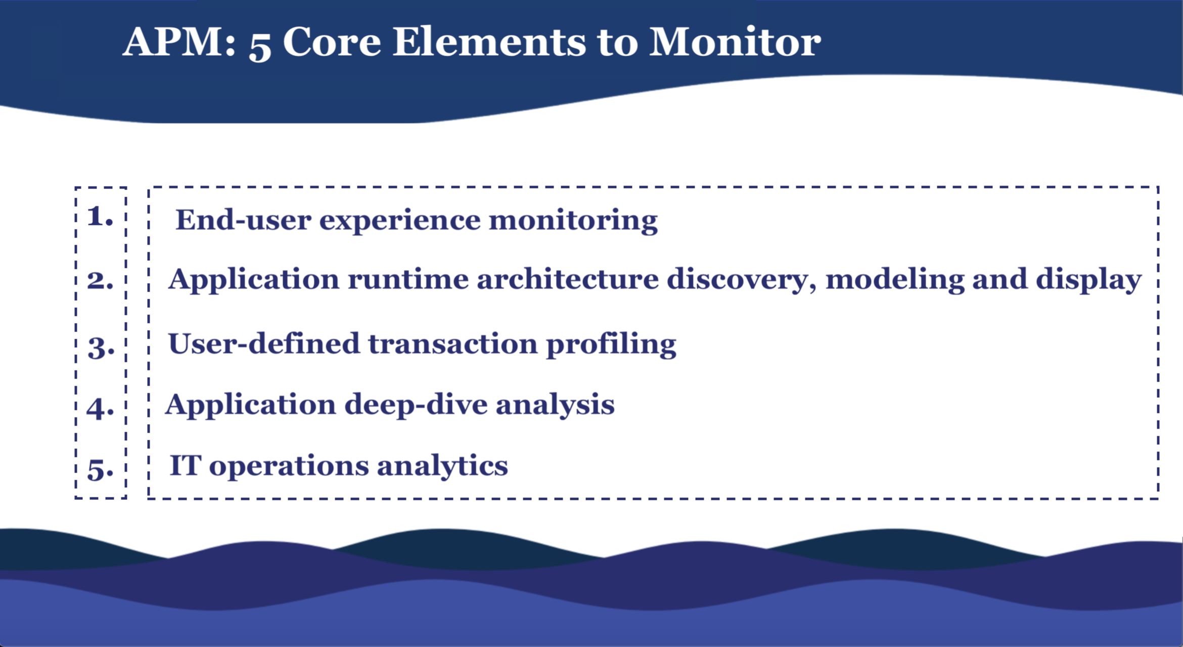 APM core elements to monitor