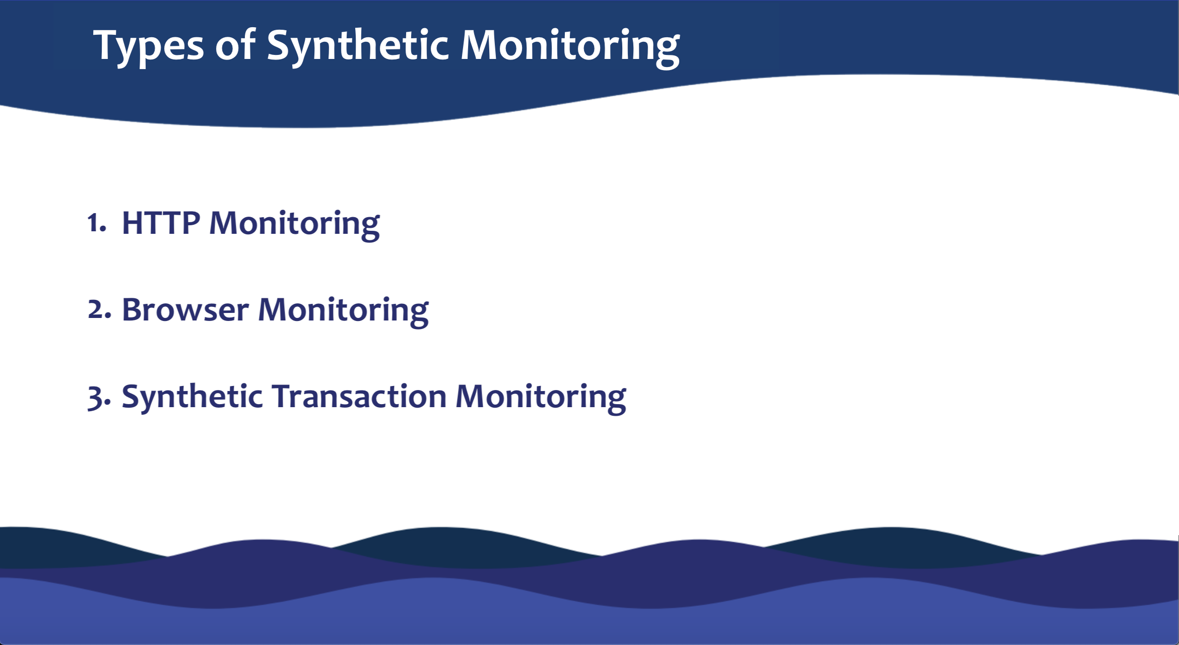synthetic monitoring types