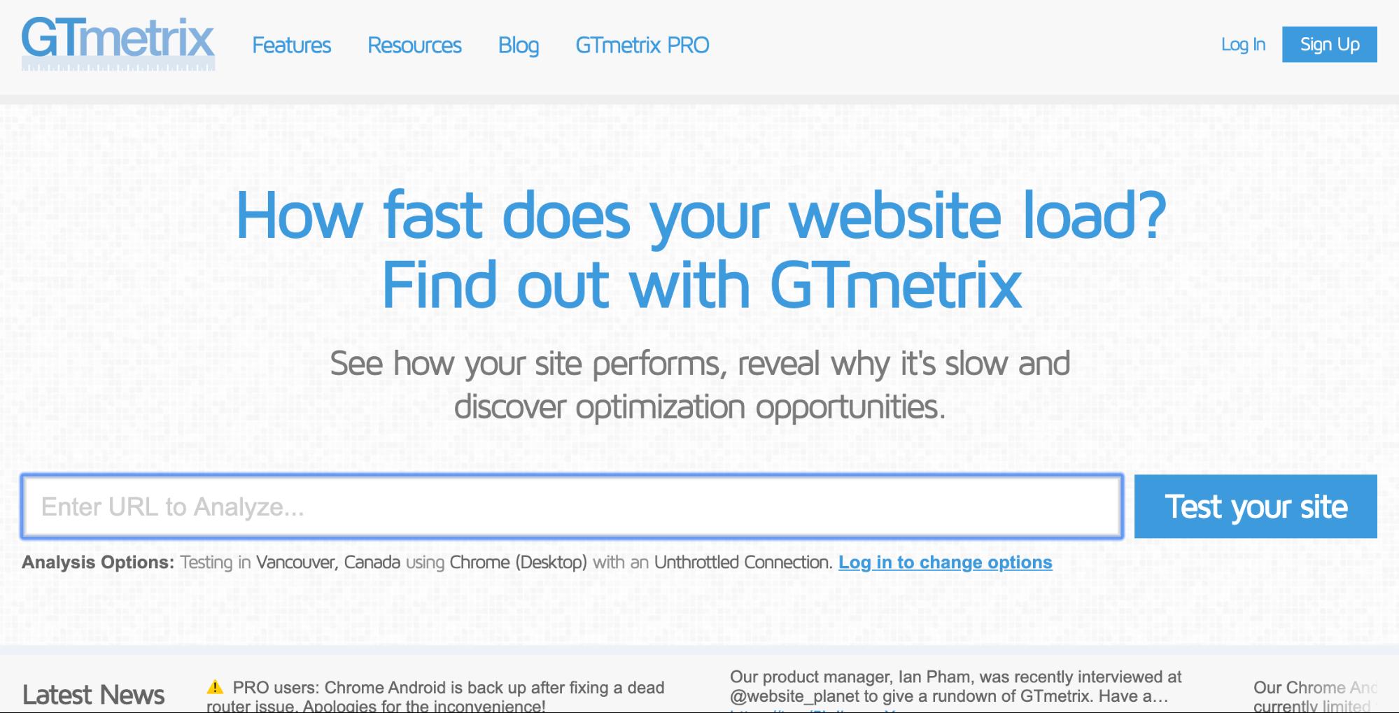 website performance tool