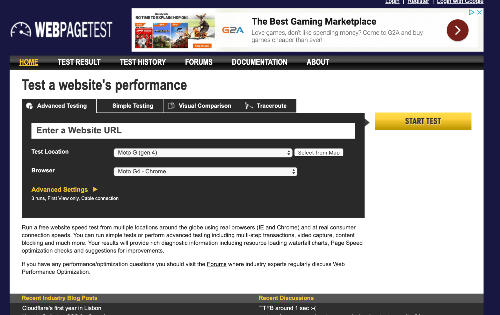 best website speed test
