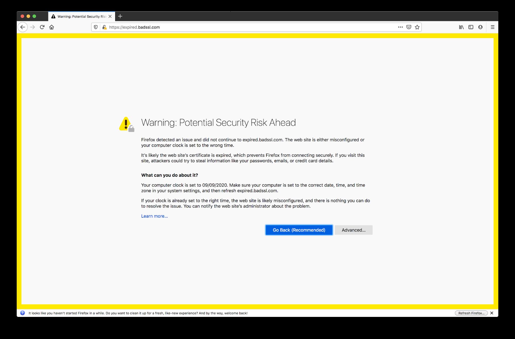 expired certificate error